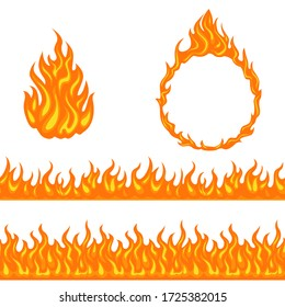Fire and flame. Set of design elements isolated on white background. Vector cartoon bonfire, horizontal seamless border and flame round ring. Simple flat style.