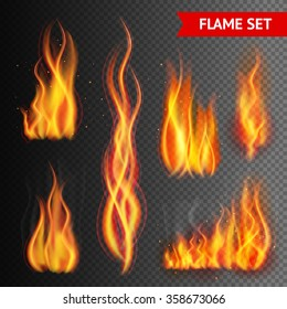 Fire flame strokes realistic isolated on transparent background vector illustration