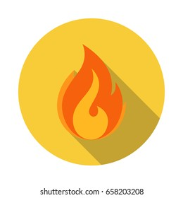 Fire Flame Vector flat icon with long shadow