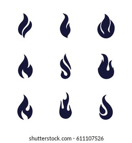 Fire Flames Black Silhouettes. Different Dark Fire Icons on White Background
