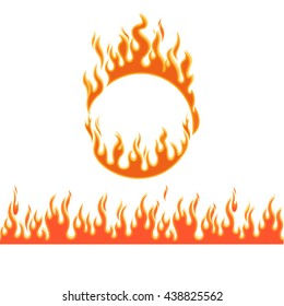 Fire flames of different shapes on white background