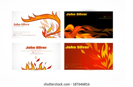 Fire flames hot warm paper business card set isolated vector illustration