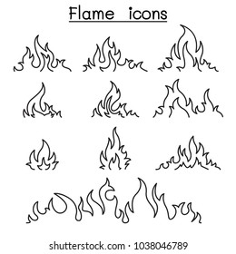 Fire & flames icon set in thin line style