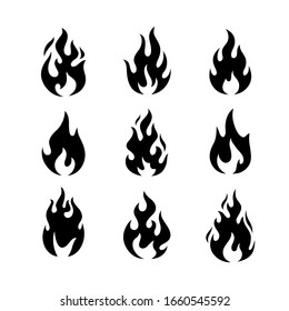 Fire flames logo templates icons set. Design elements collection for stickers, pins, prints. Vector illustration.