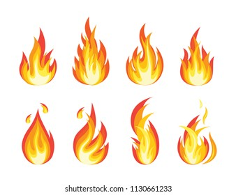 Fire flames set. Bright light, blaze isolated on white background. Row of bonfire, campfire. Burn gas. Fireball icon. Vector flat cartoon design