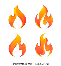Fire flames, set of vector icons.