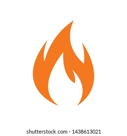 Fire flames sign, vector icon, burn emoji isolated on white background.