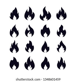 Fire flames silhouette. Flaming campfire, hot inferno flame shape. Simple flames fireball, ignite burning bonfire silhouette or flaming logo, vector