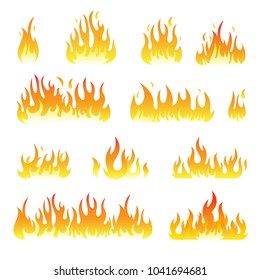 Fire flames vector design set isolated on white