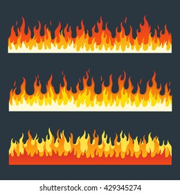 Fire flames vector set in a flat style. Cartoon burning fire flame isolated on a dark background.
