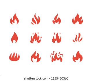 Fire flat glyph icons. Flame shapes silhouette, bonfire vector illustration, flammable warning sign, red color.