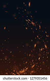 Fire flying sparks background
