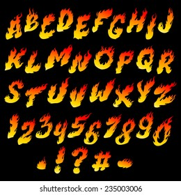 Fire font. Fiery alphabet and numbers on a black background.