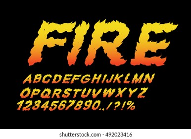 Fire font. Flame ABC. Fiery letters. Burning alphabet. Hot typography. blaze lettring