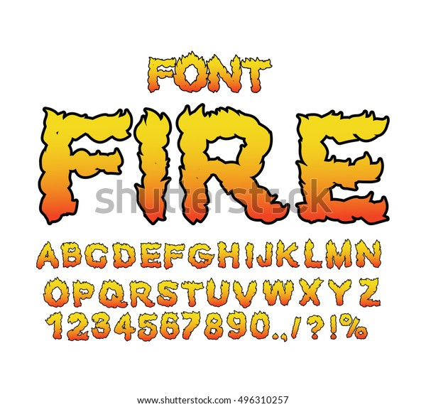 Fire Font Flame Abc Fiery Letters Stock Image Download Now