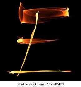 fire font letter e on black background vector
