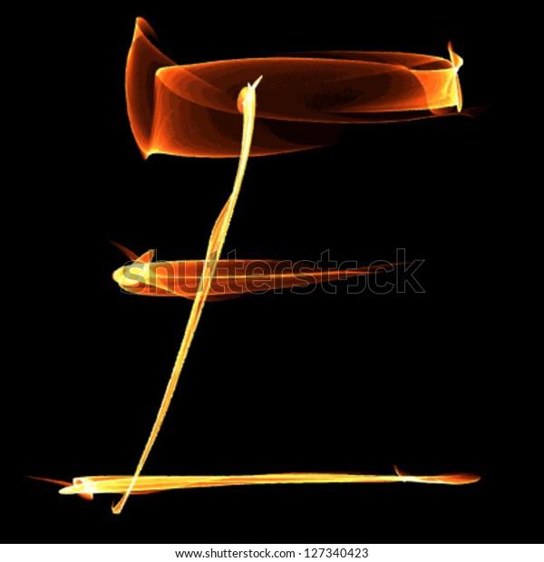 Fire Font Letter E On Black Stock Vector (Royalty Free) 127340423