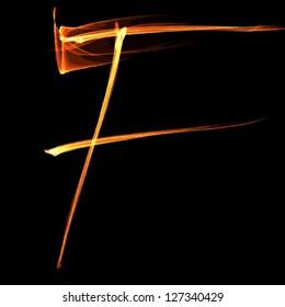 fire font letter f on black background vector