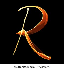 fire font letter r on black background vector