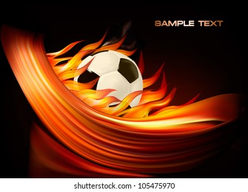 Fire football background with a soccer ball. Vector
