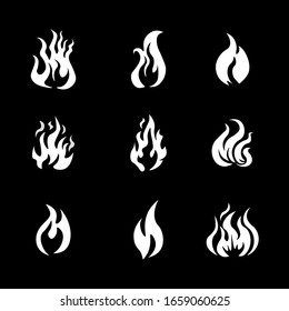 Fire frame icon set illustration .Cartoon flame  elements, white burn bounds, blazing line vector images isolated on a white background