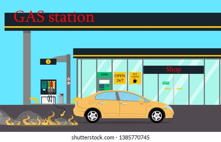 Fire at gas station. Vector illustration