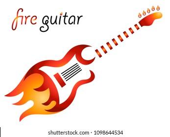fire guitar - vector icon