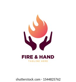 Fire and hand symbol logo design vector template