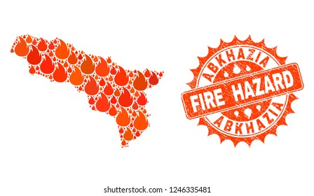 Fire hazard collage of map of Abkhazia burning and textured stamp seal. Map of Abkhazia vector collage composed for fire insurance templates.