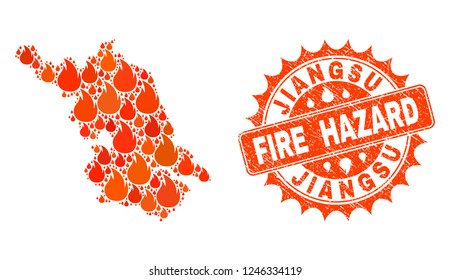 Fire hazard collage of Map of Jiangsu Province burning and unclean stamp. Map of Jiangsu Province vector collage designed for fire insurance posters.