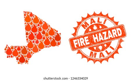 Fire hazard collage of map of Mali burning and textured seal. Map of Mali vector collage formed for fire insurance templates. Mosaic map of Mali constructed with bright flame items.