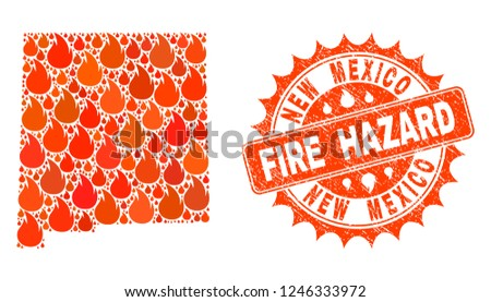 Fire Hazard Collage Map New Mexico Stock Vector Royalty Free