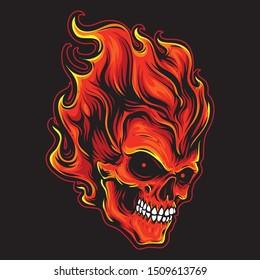 fire head skull vector logo