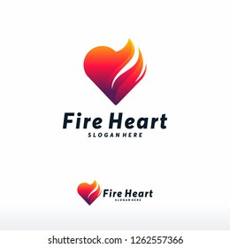 Fire Heart Logo designs concept vector, Love Fire logo symbol icon