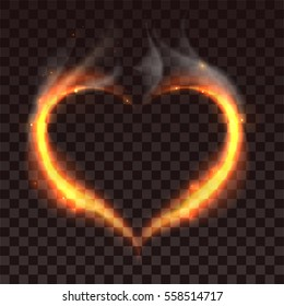 Fire heart on dark transparent background. Illustration in vector format