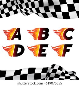 Fire and high associated speed font, letters A,B,C,D,E,F. Typeface symbols for logo on checkered background