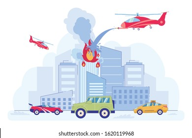 Fire in High Building Flat Cartoon Vector Illustration. Skyscraper Burning, Helicopter Extinguishing Flame. Traffic on Road. Emergency Situation. Planes Flying and Putting out Fire.