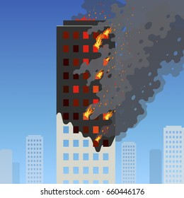 Fire of the high-rise building. Flat skyscraper burning rapidly on a blue cityscape. Orange flames in the windows, soot and smoke with sparks. Useful for design of alarm news or insurance advertising.