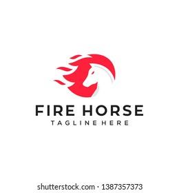 fire horse concept vector logo design