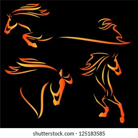 fire horse design elements - speeding stallions outlines