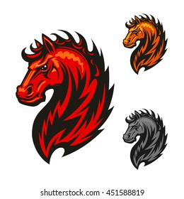 Fire horse or devil stallion symbol with head of an angry horse with bright orange and red flaming mane. Great for sporting mascot or t-shirt print design usage