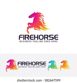 Fire Horse, horse, power, animal, fire, flame, abstract, studio, sport, brand, colorful. Vector logo template