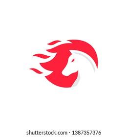 fire horse running vector logo design