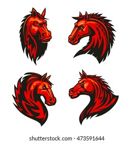 Fire horses symbols of aggressive and powerful stallions with fiery red tribal pattern of flaming manes. Horse racing mascot or tattoo design