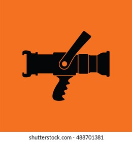 Fire hose icon. Orange background with black. Vector illustration.