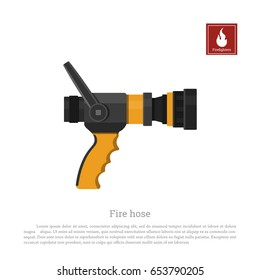 Fire hose on a white background. Firefighter equipment in realistic style. Vector illustration