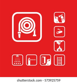 Fire hose reel icon. White sign on the red background. Graphic pictograms. Exclusive symbols. Set of isolated vector icons.