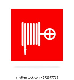 Fire hose wall sigh vector flat material design isolated on white