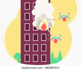 Fire house drone extinguishing for concept design. Smoke and fire come out of the window, the apartment is on fire. Modern technology concept. Top view drone. Flat vector illustration.