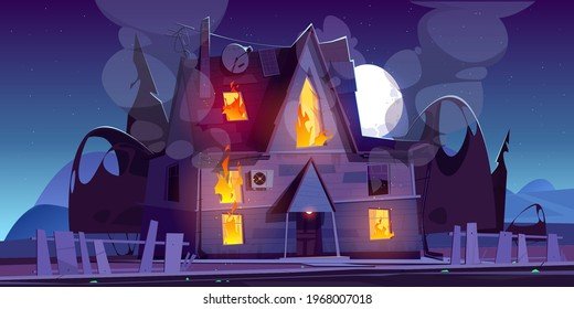 Fire in house at night, burning suburban cottage with flame in windows. Long blaze tongues raging over in real estate countryside building . Dangerous accident at home, Cartoon vector illustration